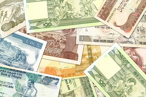 some ethiopian birr banknotes illustrating growing economy and investment
